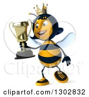 Clipart Of A 3d Happy Queen Bee Walking With A Trophy Royalty Free Illustration