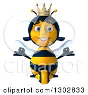 Clipart Of A 3d Happy Queen Bee Meditating Royalty Free Illustration