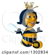 Clipart Of A 3d Happy Queen Bee Facing Right And Meditating Royalty Free Illustration