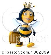 Clipart Of A 3d Traveling Queen Bee Walking With Rolling Luggage Royalty Free Illustration