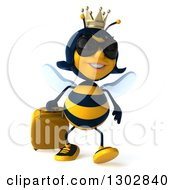 Clipart Of A 3d Traveling Queen Bee Wearing Sunglasses And Walking With Rolling Luggage Royalty Free Illustration