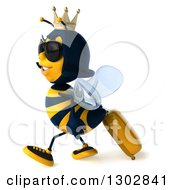 Clipart Of A 3d Traveling Queen Bee Wearing Sunglasses And Walking To The Left With Rolling Luggage Royalty Free Illustration