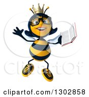 Clipart Of A 3d Bespectacled Queen Bee Jumping And Holding A Book Royalty Free Illustration