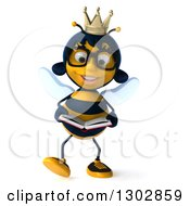 Clipart Of A 3d Bespectacled Queen Bee Walking And Reading A Book Royalty Free Illustration