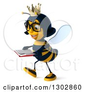 Clipart Of A 3d Bespectacled Queen Bee Walking To The Left And Reading A Book Royalty Free Illustration
