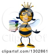 Clipart Of A 3d Bespectacled Queen Bee Presenting And Holding A Stack Of Books Royalty Free Illustration