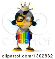 Clipart Of A 3d Bespectacled Queen Bee Pouting And Holding Books Royalty Free Illustration