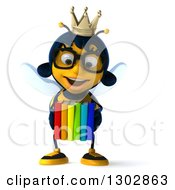 Clipart Of A 3d Bespectacled Queen Bee Smiling And Holding Books Royalty Free Illustration