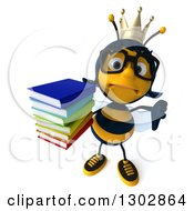 Clipart Of A 3d Sad Bespectacled Queen Bee Holding Up A Tumb Down And A Stack Of Books Royalty Free Illustration