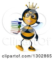 Clipart Of A 3d Bespectacled Queen Bee Walking And Holding A Stack Of Books Royalty Free Illustration