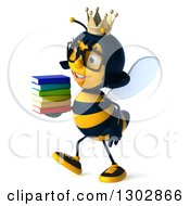 Clipart Of A 3d Bespectacled Queen Bee Walking To The Left And Holding A Stack Of Books Royalty Free Illustration