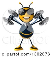 Clipart Of A 3d Happy Business Bee Working Out Wearing Sunglasses And Doing Shoulder Presses With Dumbbells Royalty Free Illustration