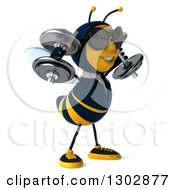 Clipart Of A 3d Happy Business Bee Working Out Wearing Sunglasses Facing Right And Doing Shoulder Presses With Dumbbells Royalty Free Illustration