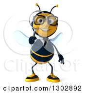 Clipart Of A 3d Happy Bespectacled Business Bee Searching With A Magnifying Glass Royalty Free Illustration