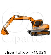 Orange Trackhoe Excavator Clipart Illustration