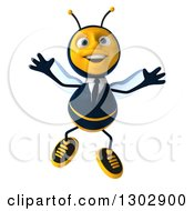 Clipart Of A 3d Happy Business Bee Jumping Royalty Free Illustration