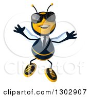 Clipart Of A 3d Happy Business Bee Wearing Sunglasses And Jumping Royalty Free Illustration