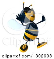 Clipart Of A 3d Happy Business Bee Wearing Sunglasses Facing Right And Jumping Royalty Free Illustration