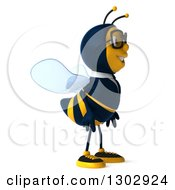 Clipart Of A 3d Happy Bespectacled Business Bee Facing Right Royalty Free Illustration