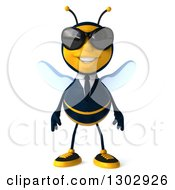 Clipart Of A 3d Happy Business Bee Wearing Sunglasses Royalty Free Illustration