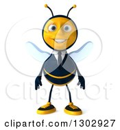 Clipart Of A 3d Happy Business Bee Royalty Free Illustration