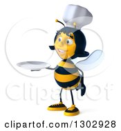 Clipart Of A 3d Female Chef Bee Facing Left And Holding A Plate Royalty Free Illustration