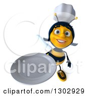 Clipart Of A 3d Female Chef Bee Holding Up A Plate Royalty Free Illustration