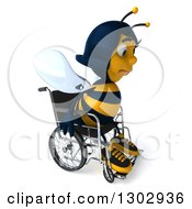 Clipart Of A 3d Sad Female Bee Sitting In A Wheelchair Royalty Free Illustration