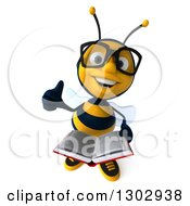 Clipart Of A 3d Bespectacled Bee Holding Up A Thumb And A Book Royalty Free Illustration