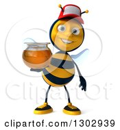 Clipart Of A 3d Happy Bee Wearing A Baseball Cap And Holding A Honey Jar Royalty Free Illustration