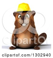 Clipart Of A 3d Happy Construction Beaver Royalty Free Illustration