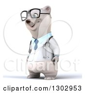 Clipart Of A 3d Happy Bespectacled Polar Bear Doctor Or Veterinarian Facing Left Royalty Free Illustration