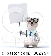 Clipart Of A 3d Happy Bespectacled Polar Bear Doctor Or Veterinarian Holding A Blank Sign Royalty Free Illustration