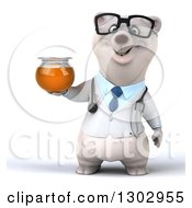 Clipart Of A 3d Happy Bespectacled Polar Bear Doctor Or Veterinarian Holding A Honey Jar Royalty Free Illustration