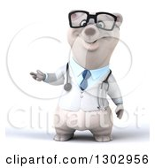 Clipart Of A 3d Happy Bespectacled Polar Bear Doctor Or Veterinarian Presenting Royalty Free Illustration