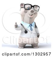 Clipart Of A 3d Happy Bespectacled Polar Bear Doctor Or Veterinarian Giving A Thumb Up Royalty Free Illustration by Julos