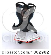 Clipart Of A 3d Bespectacled Black Bear Holding Up A Thumb And A Book Royalty Free Illustration