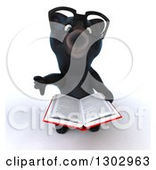 Clipart Of A 3d Bespectacled Black Bear Holding Up A Thumb Down And A Book Royalty Free Illustration