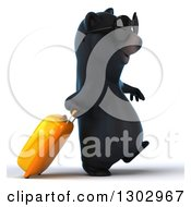 Clipart Of A 3d Happy Black Bear Wearing Sunglasses And Walking To The Right With A Rolling Suitcase Royalty Free Illustration
