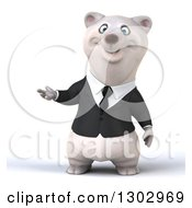 3d Happy Business Polar Bear Presenting