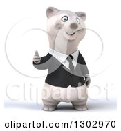 3d Happy Business Polar Bear Giving A Thumb Up