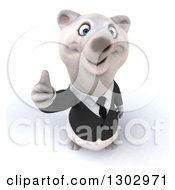 3d Happy Business Polar Bear Holding Up A Thumb