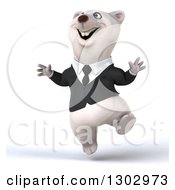 3d Happy Business Polar Bear Jumping With Glee