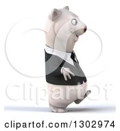 3d Happy Business Polar Bear Walking To The Right