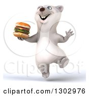 3d Happy Polar Bear Jumping And Holding A Double Cheeseburger