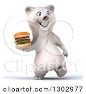 3d Happy Polar Bear Walking And Holding A Double Cheeseburger