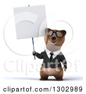 Clipart Of A 3d Bespectacled Brown Business Bear Holding A Blank Sign Royalty Free Illustration