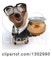 Clipart Of A 3d Bespectacled Brown Business Bear Holding Up A Honey Jar Royalty Free Illustration