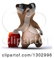 Clipart Of A 3d Traveling Brown Bear Wearing Sunglasses And Walking With A Rolling Suitcase Royalty Free Illustration