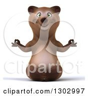 Clipart Of A 3d Happy Brown Bear Wearing Meditating Royalty Free Illustration